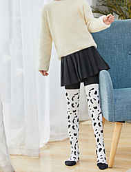 cheap -Kid's Girls' Tights Grey Black Coffee Cow High Waist Patchwork Elastic Waist Cotton Fashion 2-13 Years