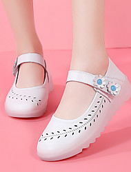 cheap -Women's Flats Flat Heel Round Toe Daily Outdoor PU Solid Colored Blue Pink Light Pink