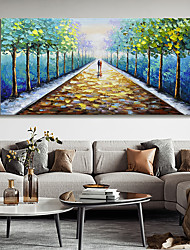 cheap -Original Forest Painting on Canvas Handmade Hand Painted Wall Art Stretched Frame Ready to Hang Large Abstract Couple Tree Landscape Acrylic Painting Living Room Decor
