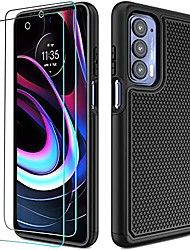 cheap -motorola edge 2021 case: heavy duty shockproof protective phone case [2 tempered glass screen protector] anti-slip textured hard cover + soft silicone rubber bumper, military armor case - black