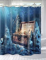 cheap -Ocean Theme Digital Printing Shower Curtain Shower Curtains Hooks Modern Polyester New Design
