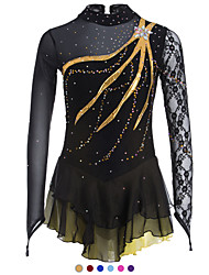cheap -Figure Skating Dress Women's Girls' Ice Skating Dress Black Sky Blue Purple Spandex Lace Leisure Sports Competition Skating Wear Handmade Solid Colored Fashion Long Sleeve Ice Skating Figure Skating