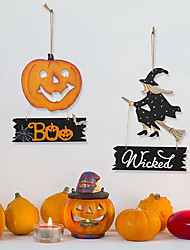 cheap -Halloween Wooden Pendant Holiday Party Wall Horror Decoration Halloween Wooden Atmosphere Listing