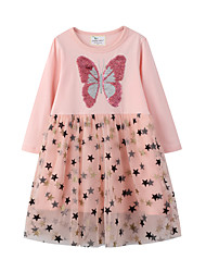 cheap -Kids Little Girls' Dress Butterfly Geometric Animal A Line Dress Casual Daily Holiday Sequins Mesh Blushing Pink Midi Long Sleeve Casual Cute Dresses Fall Winter Regular Fit 2-6 Years