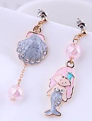 cheap -Women's Drop Earrings Earrings Mismatch Earrings Classic Mermaid Shell Korean Cute Sweet Imitation Diamond Earrings Jewelry Gold For Party Gift Daily Holiday 1 Pair