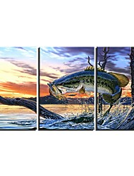 cheap -3 Panels Wall Art Canvas Prints Painting Artwork Picture Fish Painting Home Decoration Decor Rolled Canvas No Frame Unframed Unstretched
