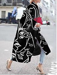 cheap -Women's Coat Daily Holiday Fall Winter Long Coat Loose Warm Elegant Casual Jacket Long Sleeve Hot Stamping Geometric Print Black
