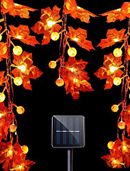 cheap -Halloween Lights Outdoor Solar Pumpkin Maple Leaf Fairy String Light 5m 6.5m 7m Waterproof Garden Lights Holiday Party Garden Thanksgiving Day Decoration Lamp