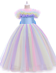 cheap -Kids Little Girls' Dress colour A Line Dress Party Birthday Bow Rainbow Maxi Sleeveless Princess Sweet Dresses New Year Fall Spring Slim 3-10 Years