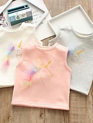 cheap -Baby Girls' Tank & Cami Active Basic Daily Cotton Blushing Pink Gray Beige Fantastic Beasts Unicorn Print Animal Patterned Animal Ruffle Sleeveless / Toddler / Summer