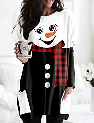 cheap -Women's Christmas Abstract Painting T shirt Plaid Graphic Color Block Long Sleeve Pocket Print Round Neck Basic Christmas Tops Regular Fit Black / 3D Print