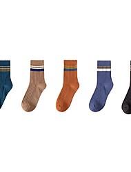 cheap -Comfort Men's Socks Striped Solid Colored Socks Casual Socks Medium Casual Multi color 5 Pairs