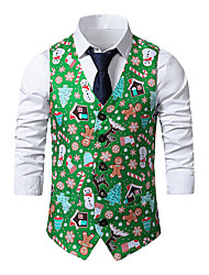 cheap -Men's Vest Business Daily Fall Winter Regular Coat Single Breasted One-button V Neck Regular Fit Thermal Warm Windproof Warm Business Streetwear Jacket Sleeveless Print Color Block Patchwork Print