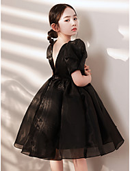 cheap -Ball Gown Tea Length Flower Girl Dresses Holiday Tulle Short Sleeve Jewel Neck with Solid