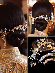 cheap -1 Piece Bride Xiuhe Headdress Chinese Style Phoenix Crown Wedding Costume Hair Accessories Suit Dress Dragon And Phoenix Gown With Accessories