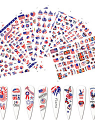 cheap -8 Pcs Flag USA Nail Sticker for Manicure Design Clover Love Back Glue Nail Art Sticker Decals Decoration Fire Nail Accesoires Flame