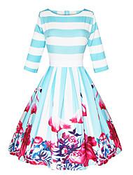 cheap -Women's A Line Dress Knee Length Dress Blue 3/4 Length Sleeve Floral Striped Print Fall Spring Round Neck Elegant 3D Print S M L XL XXL