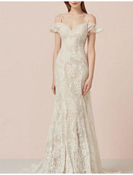 cheap -Sheath / Column Wedding Dresses Sweetheart Neckline Spaghetti Strap Sweep / Brush Train Lace Tulle Cap Sleeve Romantic Sexy with Appliques 2021