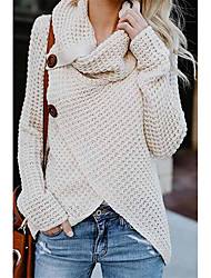 cheap -Women's Pullover Sweater Knitted Button Solid Color Stylish Basic Casual Long Sleeve Regular Fit Sweater Cardigans Turtleneck Fall Winter Wine Red Jean Blue Khaki / Holiday
