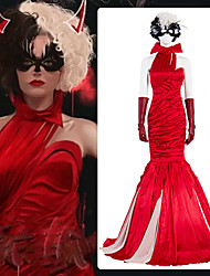 cheap -One Hundred and One Dalmatians Cruella De Vil Outfits Masquerade Women's Movie Cosplay Vacation Halloween Red Dress Gloves Wig Halloween Carnival Masquerade Polyester / Eye Mask