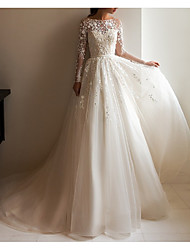 cheap -A-Line Wedding Dresses Jewel Neck Court Train Lace Tulle Long Sleeve Formal Romantic Luxurious with Appliques 2021