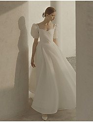 cheap -A-Line Wedding Dresses Scoop Neck Ankle Length Organza Short Sleeve Country Simple Little White Dress 1950s with Ruffles 2021