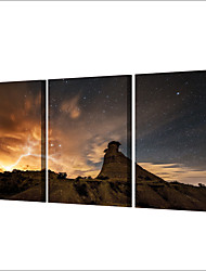 cheap -3 Panels Wall Art Canvas Prints Painting Artwork Picture Starry Sky Mountains Home Decoration Decor Rolled Canvas No Frame Unframed Unstretched
