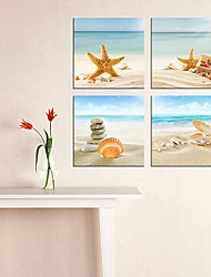cheap -4 Panels Wall Art Canvas Prints Painting Artwork Picture Landscape Beach Pearl Sea Shell Home Decoration Decor Rolled Canvas No Frame Unframed Unstretched