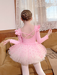 cheap -Kids' Dancewear Ballet Skirts Lace Pleats Butterfly Girls' Performance Daily Wear Long Sleeve Natural Spandex Tulle Cotton