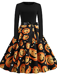 cheap -Women's Swing Dress Knee Length Dress Black Long Sleeve Star Smiley Face Pumpkin Shaped Bow Print Fall Winter Round Neck Vintage Christmas Halloween 2021 S M L XL XXL