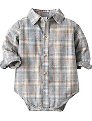 cheap -2 Pieces Baby Boys' Children's Day Jumpsuits Jumpsuits & Rompers Jumpsuits & Pramsuit Basic Casual Christmas Formal Cotton Light gray Abstract Plaid Print Long Sleeve / Fall / Spring