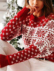 cheap -Women's Pullover Sweater Ugly Sweater Knitted Floral Casual Soft Long Sleeve Regular Fit Sweater Cardigans Crew Neck Fall Winter White Red / Christmas / Jumper