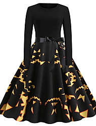 cheap -Women's Swing Dress Knee Length Dress Black Long Sleeve Smiley Face Pumpkin Shaped Bow Print Fall Winter Round Neck Vintage Christmas Halloween 2021 S M L XL XXL
