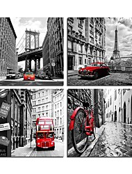 cheap -4 Panels Wall Art Canvas Prints Painting Artwork Picture Red Car Black and White Painting Home Decoration Decor Rolled Canvas No Frame Unframed Unstretched