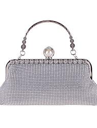 cheap -Women's Bags Polyester Evening Bag Crystals Chain Vintage Party / Evening Evening Bag Chain Bag Silver Gold Black