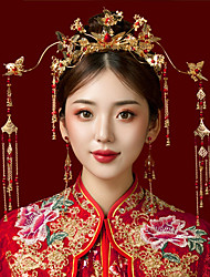 cheap -1 Piece Ancient Costume Red Chinese Wedding Bridal Headdress Butterfly Phoenix Crown Classical Palace Dragon And Phoenix Gown Clothing Accessories