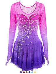 cheap -Figure Skating Dress Women's Girls' Ice Skating Dress Pink / Purple Yellow Dark Red Halo Dyeing Spandex High Elasticity Competition Skating Wear Handmade Ice Skating Figure Skating