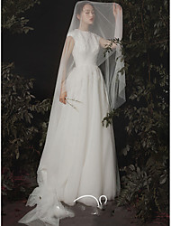 cheap -One-tier Cute / Sweet Wedding Veil Chapel Veils with Solid Tulle