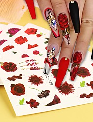 cheap -24 pcs/set Mixed Stickers for Nails Rose Flowers Butterfly Water Decals Nail Art Decoration Slider Polish Foil Paper Tips