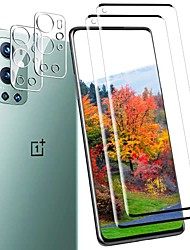 cheap -[2 + 2 pack] screen protector + camera lens protector for oneplus 9 pro, [anti-fingerprint][no-bubble][scratch-resistant]5d curved tempered glass