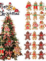 cheap -12Pcs Gingerbread Man Christmas Tree Hanging Pendant Xmas Tree Decor Ornament 2021 Newest Cute Funny Kid Gift