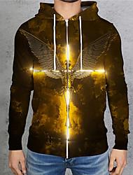 cheap -Men's Unisex Full Zip Hoodie Graphic Prints Skull Wings Zipper Print Hooded Daily Sports 3D Print 3D Print Casual Hoodies Sweatshirts  Long Sleeve Gold