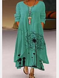 cheap -Women's Plus Size Dress A Line Dress Maxi long Dress Long Sleeve Floral Casual Fall Winter Spring Black L XL XXL XXXL 4XL