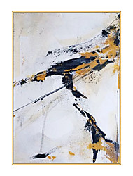 cheap -Oil Painting Handmade Hand Painted Wall Art Modern White Black Yellow Abstract Picture Home Decoration Decor Rolled Canvas No Frame Unstretched