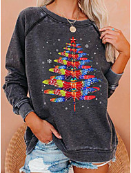cheap -Women's Sweatshirt Pullover Stars Christmas Tree Print Crew Neck Christmas Sports 3D Print Streetwear Christmas Hoodies Sweatshirts  Blue Dark Gray