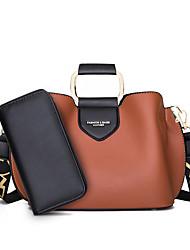cheap -Women's Bags PU Leather Top Handle Bag Date Office & Career Bag Sets Handbags Khaki Black Red Brown