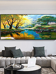 cheap -Original Forest Painting on Canvas Handmade Hand Painted Wall Art Stretched Frame Ready to Hang Large Realistic  Landscape Acrylic Painting Living Room Wall Art Decor