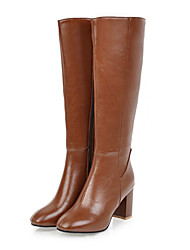 cheap -Women's Boots Block Heel Square Toe Knee High Boots Casual Minimalism Daily PU Leather Solid Colored Black Brown Beige / Winter