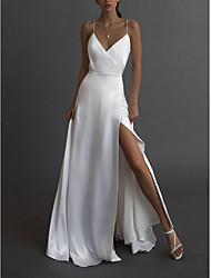 cheap -A-Line Wedding Dresses V Neck Spaghetti Strap Sweep / Brush Train Charmeuse Sleeveless Simple Sexy with Split Front 2021