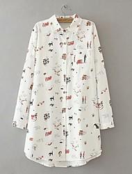cheap -Women's Plus Size Tops Shirt Cat Airplane Long Sleeve Round Neck Casual Cute Fall Winter White Big Size XXL XXXL 4XL